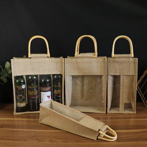 custom PVC window gift wine jute tote bags wholesale