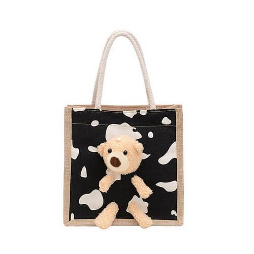 custom mini jute tote bags black color