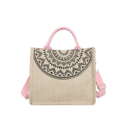 custom shopping jute tote bags bulk pink color