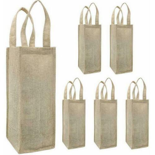 single bottle wine jute tote bags wholesale