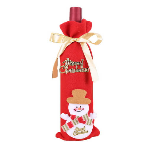 Christmas Bottle Bags Wholesale Felt Drawstring