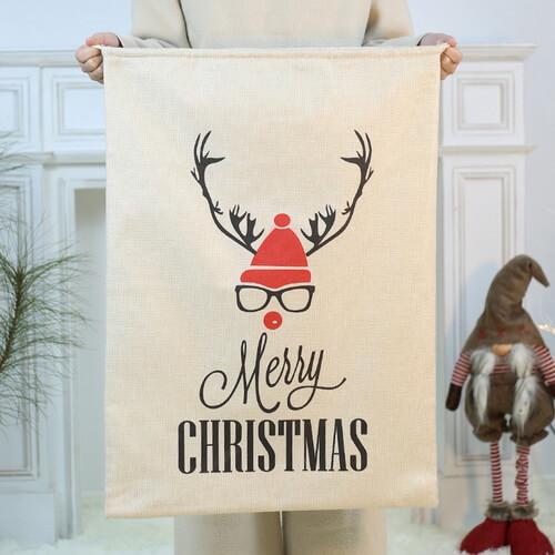 Medium Christmas Jute Drawstring Gift Bags Bulk