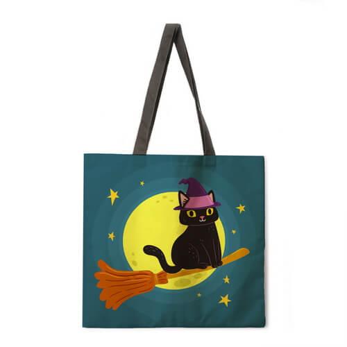 black cat halloween tote bags bulk