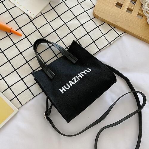 black small canvas tote bag