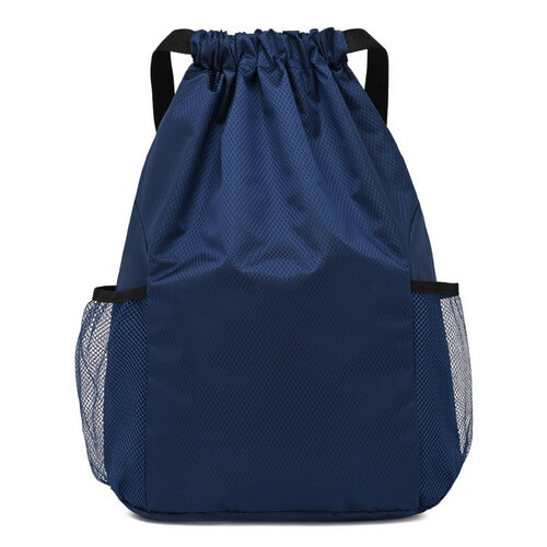 blue blank hiking drawstring backpack