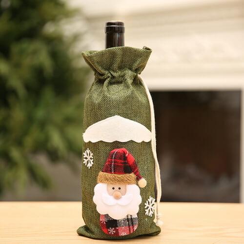 burlap drawstring christmas wine bags wholesale