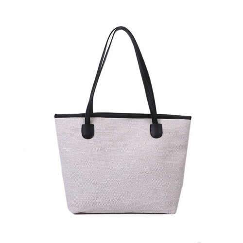 canvas tote with leather handles wholesale white color