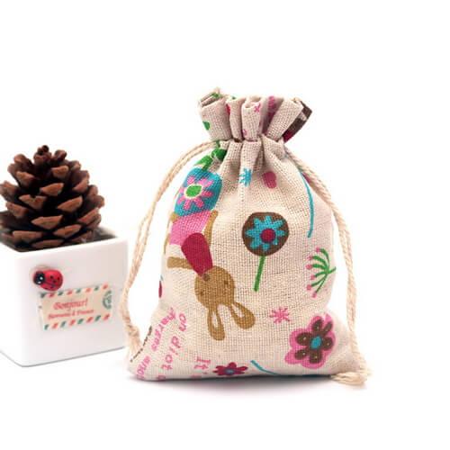 custom calico drawstring bags wholesale