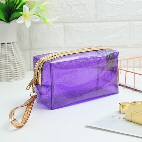 custom purple clear vinyl cosmetic bags wholesale