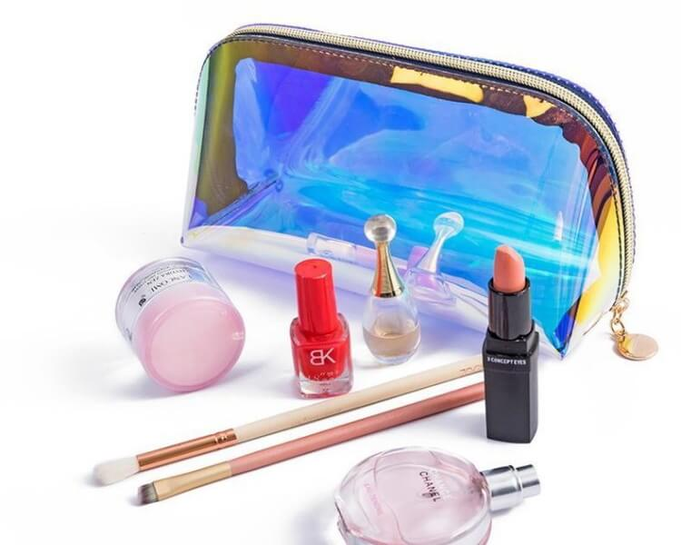 custom zippered holographic makeup bags