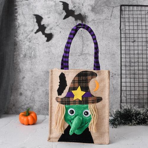 customized halloween jute tote bags wholesale