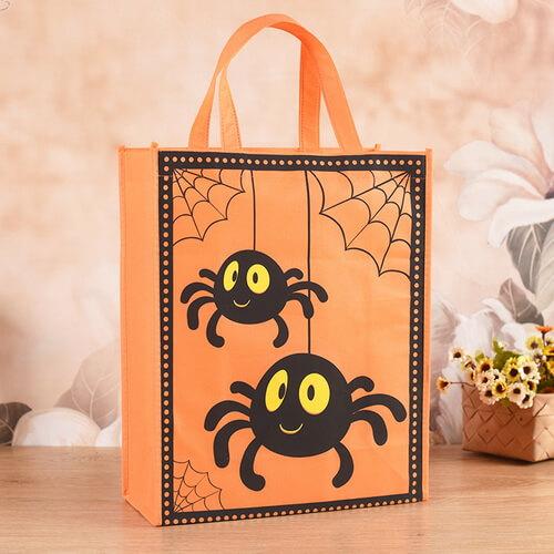 halloween goodie non woven tote bags bulk spider