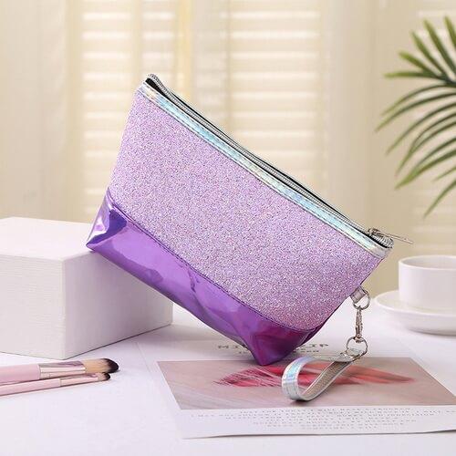 purple glitter cosmetic bags wholesale