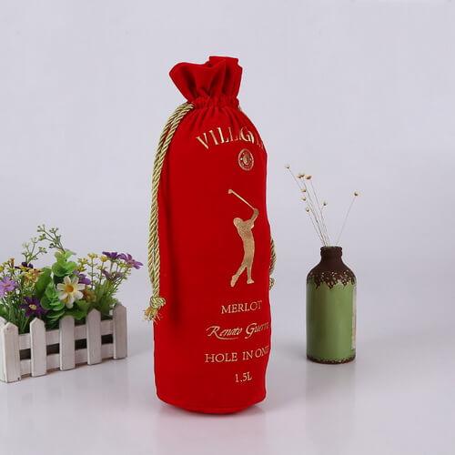 red drawstring velvet wine bags wholesale