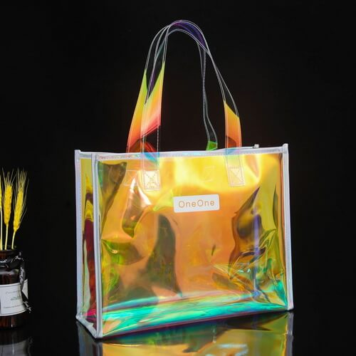 Custom Clear Holographic Shopping Tote Bags Wholesale