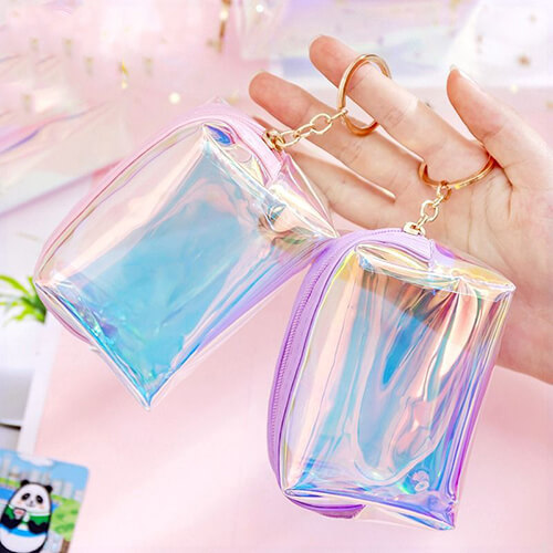 Custom Printed Holographic Keychain Coin Purse Wholesale
