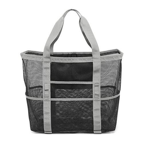 black custom mesh beach bags bulk