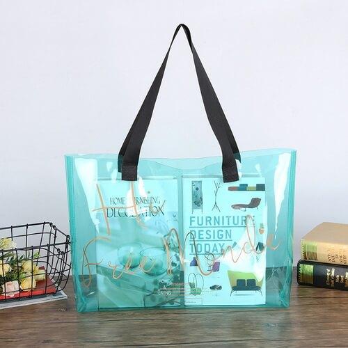 blue Custom Large Plastic Clear Beach Bags Wholesale