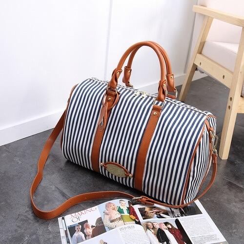 custom blue striped canvas duffle bags bulk