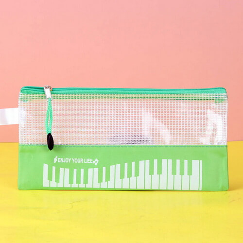 custom printed green mesh pencil pouch wholesale