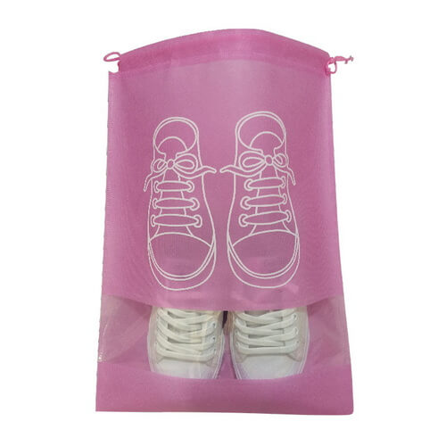 pink Non-Woven Drawstring Shoe Bags Wholesale
