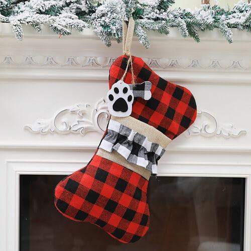 plaid Personalized Dog Bone Christmas Stockings Wholesale
