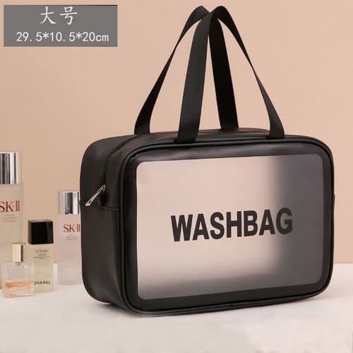 black large clear plastic toiletry bags
