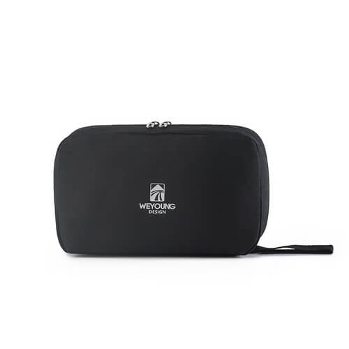 black nylon personalized hanging toiletry bag